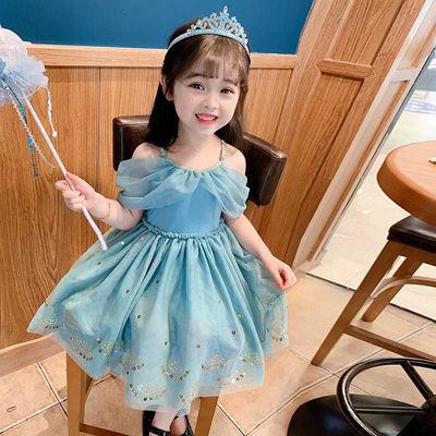 女童连衣裙儿童公主裙洋气背心裙女宝宝夏款吊带露肩网纱亮片裙子