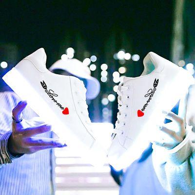 充电七彩发光鞋男童女童夜光鬼步鞋情侣学生大童儿童板鞋荧光灯鞋