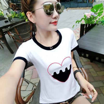 棉短袖白色T恤女夏装新款拼接撞色刺绣上衣服修身显瘦体恤打底衫