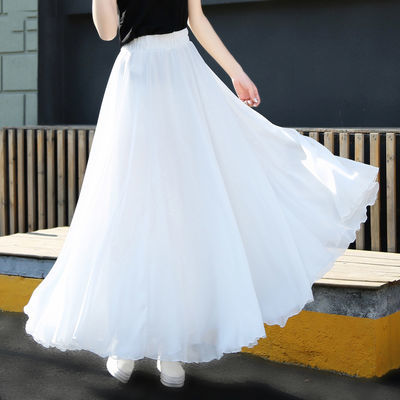 15672/新款雪纺半身裙子女仙女半身长裙显瘦a字白色长裙跳舞蹈大摆裙夏