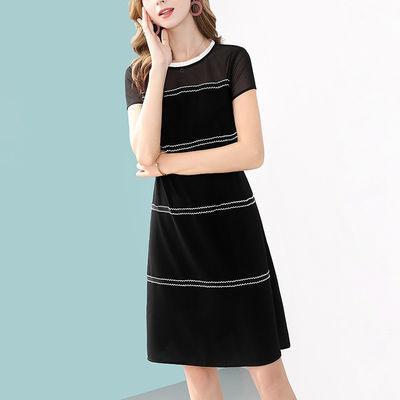 法式贵夫人黑色雪纺连衣裙女夏季2020新款短袖拼接优雅显瘦短裙子