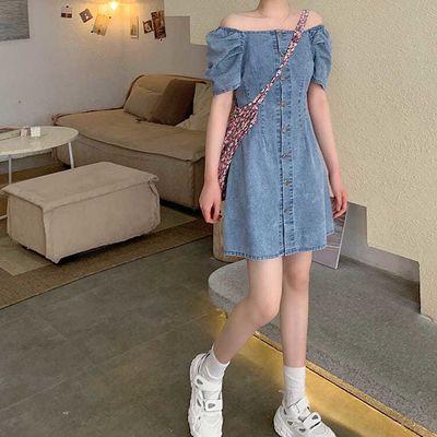 牛仔连衣裙女2020夏季新款学院风短裙收腰网红一字肩A字裙女裙子