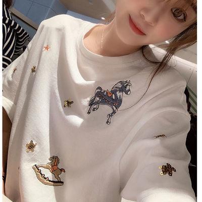 90%棉春夏新款韩版宽松圆领刺绣白色T恤女短袖学生上衣洋气打底衫
