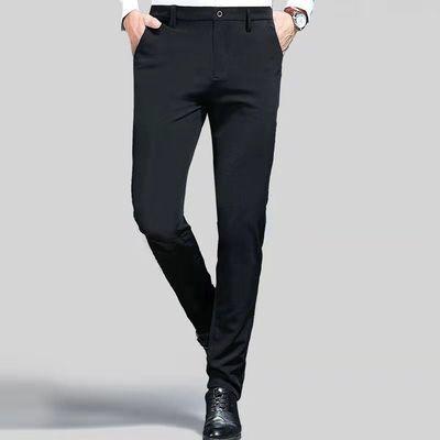 时尚商务休闲西裤男厚款直筒修身男装韩版九分西裤弹力男小脚西裤