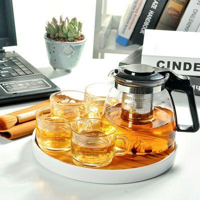 整套高硼硅玻璃功夫茶具套装竹制茶盘茶壶茶杯家用旅行办公泡茶壶