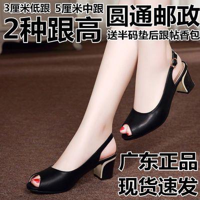广东货2020夏季新款粗跟鱼嘴凉鞋女低跟浅口真皮中跟韩版工作凉鞋