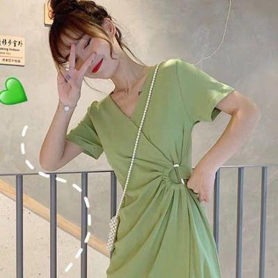 法国小众桔梗收腰裙子夏装韩版显瘦洋气小清新牛油果绿连衣裙女潮