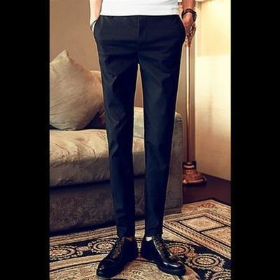 秋季休闲裤男士商务西裤韩版百搭弹力小脚裤黑色男裤修身西装长裤