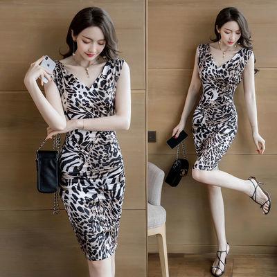 女装2020新款潮韩版春夏季豹纹性感包臀V领修身显瘦弹力连衣裙子