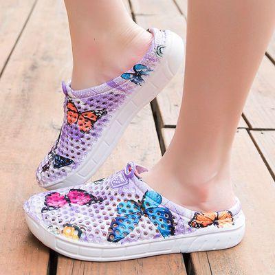 夏季大码洞洞鞋女凉鞋海边沙滩鞋夏天凉拖女鞋41-43鸟巢半拖拖鞋