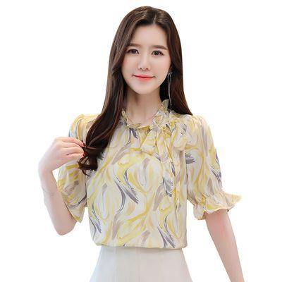 雪纺衫女装2020夏季新款短袖韩版碎花百搭遮肚子洋气泡泡袖上衣女