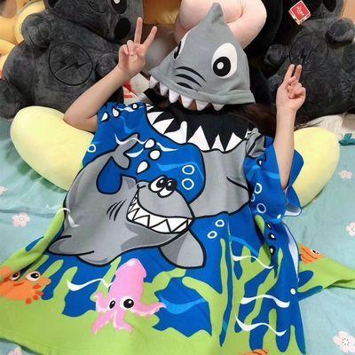 新款加大号儿童可穿浴巾浴袍立体卡通动物造型洗澡浴沙滩披风斗篷