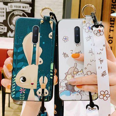 一加8pro手机壳全包磨砂硅胶OnePlus7卡通小熊七斜挎挂绳八防摔套