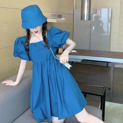 实拍复古泡泡短袖连衣裙方领抹胸减龄收腰娃娃裙+帽子女夏h230a