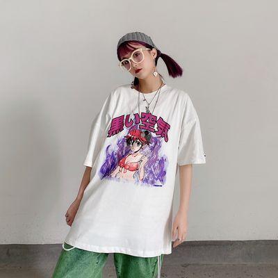 2020新款学生嘻哈短袖ins风韩版原宿二次元印花宽松t恤女上衣女潮