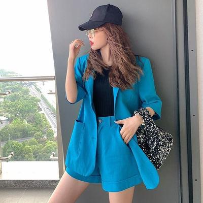 时尚套装女2020年新款小西装套装女韩版气质休闲职业装纯色两件套