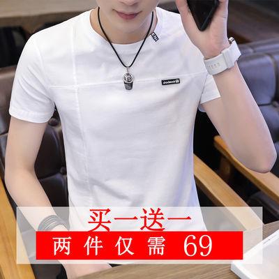 夏季男士短袖t恤青少年圆领半袖白体恤潮流纯棉男装帅气上衣纯色