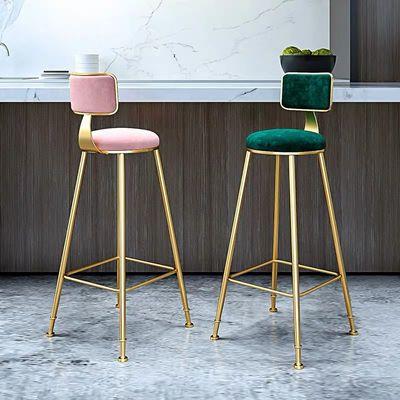 北欧吧台椅铁艺ins创意餐桌金色升降咖啡厅靠背网红高脚凳子简约
