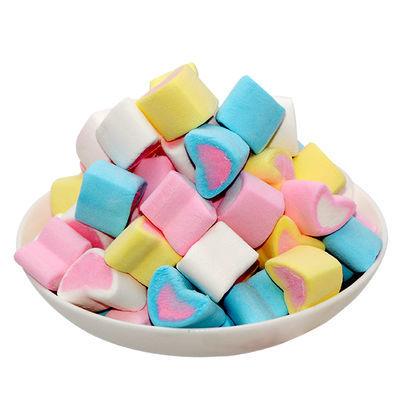 彩色棉花糖 彩色小心形 做牛轧糖 咖啡蛋糕装饰喜糖500g包邮