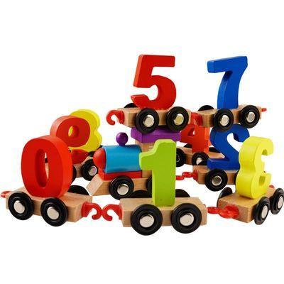 木制儿童早教益智男女孩玩具拖拉数字小火车积木婴幼儿宝宝小汽车