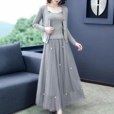 69322/单件/套装春裙女夏季新款女装钉珠网纱裙气质半身裙洋气超仙女裙