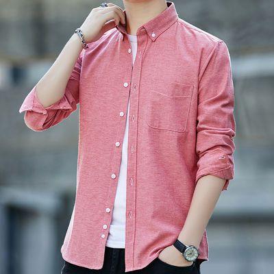 夏季薄款长袖衬衫男宽松大码韩版男士衬衫纯色牛津纺商务休闲衬衣