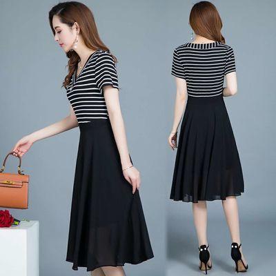 A字裙2020夏季新款韩版女装显瘦中长款条纹雪纺连衣裙时尚裙子女