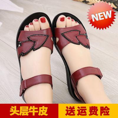 妈妈凉鞋女夏季平底中老年女鞋真皮软底舒适防滑中年老年人奶奶鞋