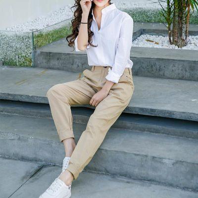 卡其色裤子女夏小个子工装裤女夏季束脚休闲女裤2020新款夏款薄款