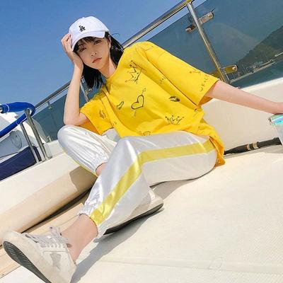 夏季运动休闲套装女潮牌时尚特色两件套2020年韩版洋气短袖ins潮