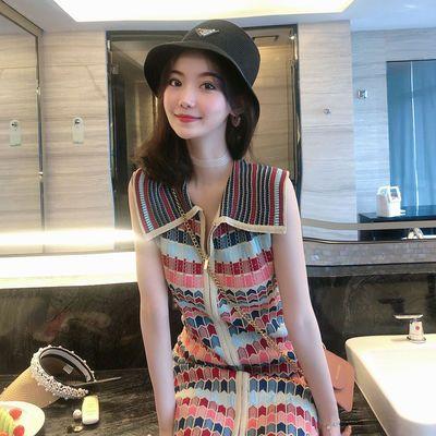 小香风连衣裙2020新款夏装女泫雅风无袖背心针织裙子翻领拉链短裙