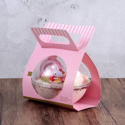 50个手提慕斯球 透明圆形波奇饭沙拉打包盒 烘焙西点蛋糕手提盒