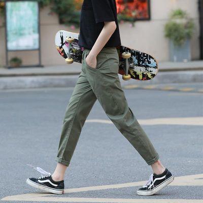 军绿色裤子女宽松哈伦裤女夏季薄款萝卜九分工装裤女直筒休闲女裤