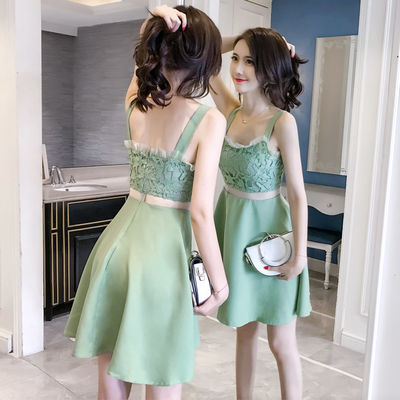 夏季新韩版小个子夜场女装短裙子性感无袖露背吊带雪纺蕾丝连衣裙