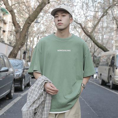 男士短袖t恤夏季潮牌纯色ins港风圆领青少年学生2020男装新品体恤