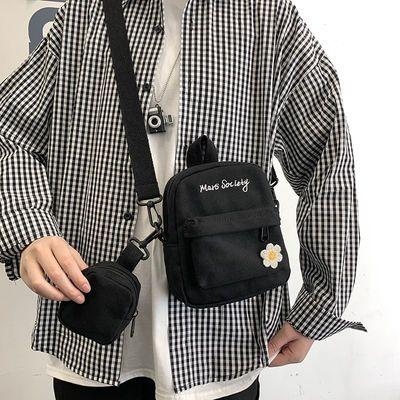 斜挎包男ins潮小包韩版潮流学生单肩包休闲帆布背包男生潮牌包包