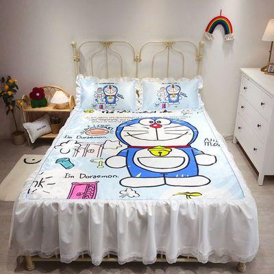 哆啦A梦卡通蕾丝床裙款冰丝凉席三件套可机洗可折叠双人床席子
