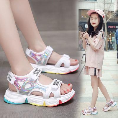 女童运动凉鞋2020新款小公主彩虹鞋软底儿童凉鞋夏季中大童小女孩