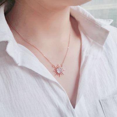 镀真金多款任选精美时尚女士项链锁骨链简约吊坠玫瑰金个性饰品