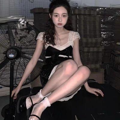 ishui is shuiii【漆黑的白天】复古蕾丝绒连衣裙小飞袖吊带性感