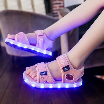防水儿童发光凉鞋USB充电亮灯鞋男女童带灯凉鞋led七彩闪光夜光鞋