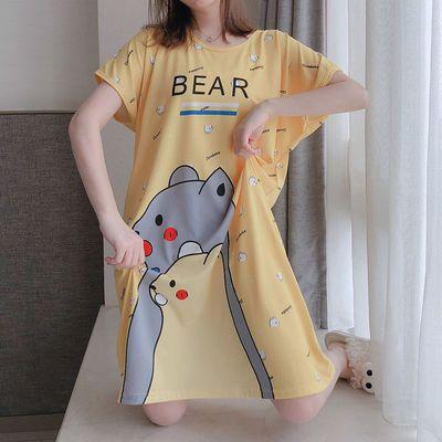 睡裙女夏季胖MM200斤加肥加大码短袖睡衣网红爆款可爱孕妇家居服