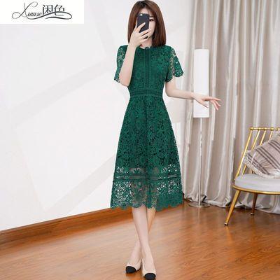 闲色蕾丝连衣裙女2020年夏新款遮肚子显瘦名媛气质水绿色短袖裙子