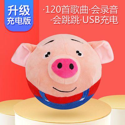 新款中国大陆玩具海草毛绒猪球会说话会唱歌电动跳跳猪儿歌