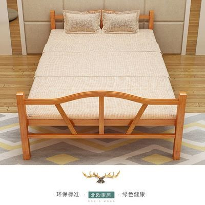 竹床折叠床单人双人午休简易午睡实木板成人家用1.2米1.5硬板凉床