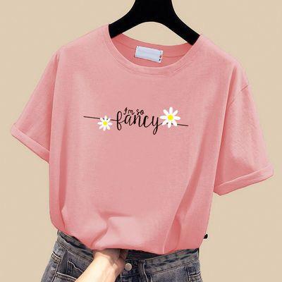 100%纯棉短袖t恤女学生韩版宽松2020夏季大码原宿风ins体恤上衣潮