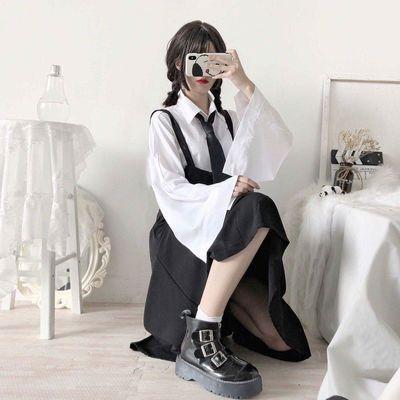 套装裙女韩版白色荷叶领彩结领结衬衫+黑色V领连衣裙女韩版小清新