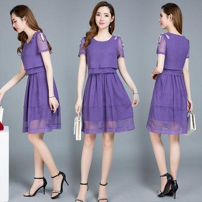 2020短袖雪纺连衣裙遮肚子夏季年轻妈妈装中长款修身韩版时尚裙子