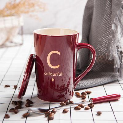 欧式早餐杯创意陶瓷马克杯带盖勺情侣喝水杯字母杯家用办公咖啡杯