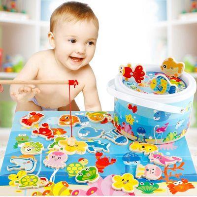 木制宝宝幼儿童早教钓鱼玩具桶装双杆钓鱼游戏2-3-4-5岁拼图